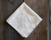 Something Old: Special Embroidered Floral Ivory Hankie