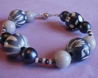Blue and White Patterned Beaded Bracelet