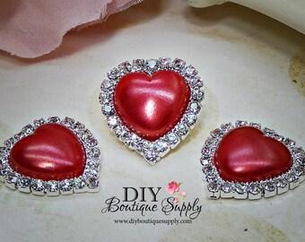 Valentine's Day RED Heart Pearl Rhinestone buttons Flat Back Metal Embellishment Scrapbooking Headband flower centers 5pcs 20mm 436040