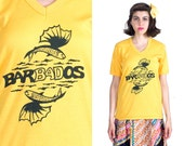 Yellow T-shirt 90s Black Flying Fish Waves Drawing Vintage 1990s Bright Barbados V Neck