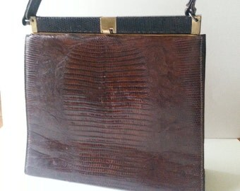 Vintage Bellestone Brown Reptile Handbag