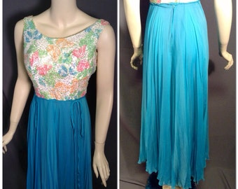 Mad Men 60's gown of sequined butterfly bodice silk chiffon skirt sz S/M 27 - 28 waist Deadstock with tags