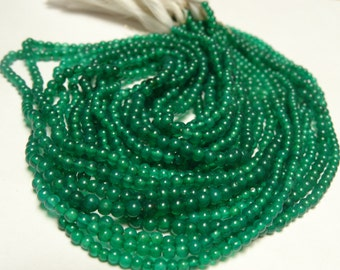 2 TO  mm Green Onyx Smooth Round Full 13 inch strand-AAA Quality -unbelievable price