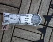 Custom doll hand painted organic cotton geometric fabric black white personalized doll custom toy custom nursery decor