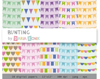Bunting Digital Papers-flags, pennants, hearts, bunting, colorful, scrapbooking, eps, jpeg, instant download