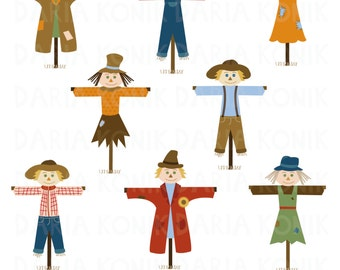Scarecrows Clip Art Set-autumn clipart, fall clipart, harvest time clipart, various scarecrows, eps, png, jpeg, instant download