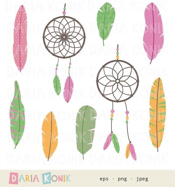 Feathers and Dreamcatchers Clip Art Set-feathers, dreamcatchers, pink ...