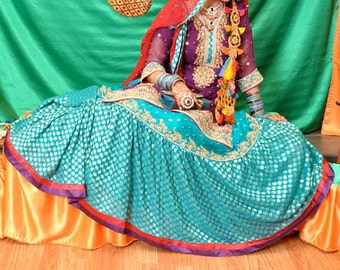 Gorgeous Purple, Blue & Red Sharara Suit/ Pakistani/ Indian Bridal Wear/ Mehndi Dress/ Bollywood/ Bridal Dress/ Mehndi, Sangeet, Dholki Wear