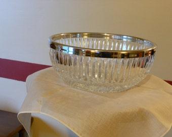 Heavy Crystal Bowl with Silver Plated Rim