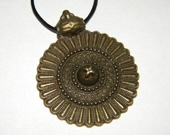 Round bronze disk charm necklace