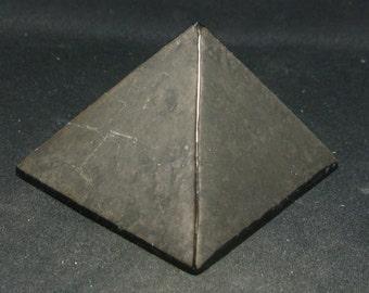 "Black Shungite Pyramid From Russia - 1.2"" Base"
