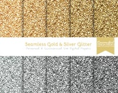 50% OFF Seamless Gold and Silver Glitter Digital Paper Set - Personal & Commercial Use