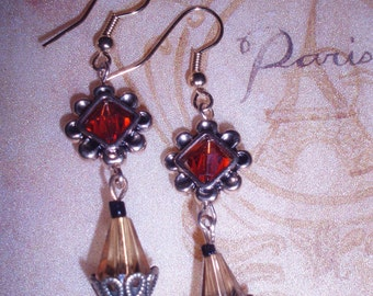 Russet and Gold Tear drop Earrings