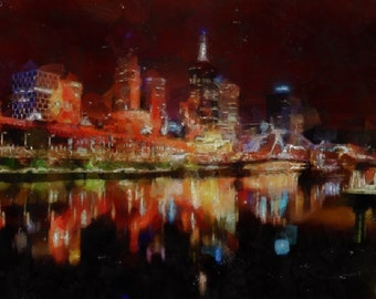 Melbourne at night - panorama canvas print