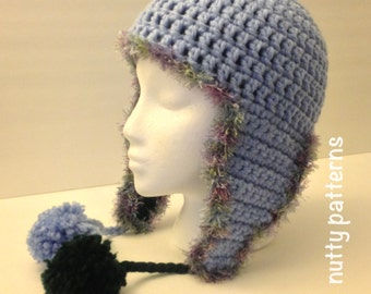 Double Crochet Hat Pattern With Ear Flaps : Popular items for double sided hat on Etsy