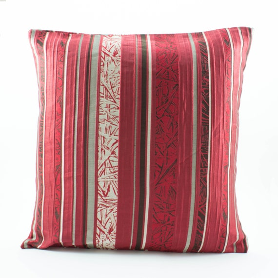 Silver Decorative Bed Pillows : Items similar to Decorative throw pillow cover 20x20 sham,Red/Black/Silver Gray,Stripes,Silk ...