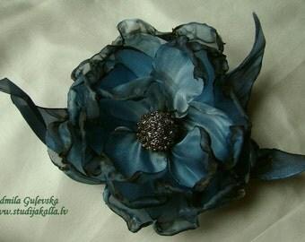 Handmade lightsteelblue - gray organza flower brooch, flower clip & pin