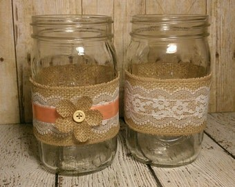 Mismatched Coral and Burlap Mason Jar Centerpieces, set of 2, Coral Centerpieces, Burlap Centerpieces, Rustic Wedding Centerpiece
