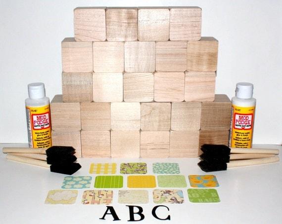 Alphabet children 39 s wooden baby blocks diy baby shower for Child craft wooden blocks