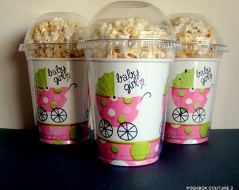 Popcorn Boxes,  It's a Girl!, Baby Shower Popcorn Boxes with clear dome lid