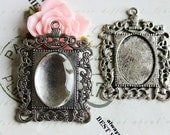 5 vintage silver pendant trays with glass tiles 18x25mm matching domes floral frame pendant trays supplies commerical craft rectagle