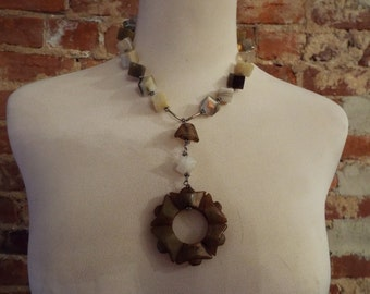 OOAK Jade and Agate Statement Necklace