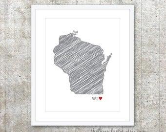 State of Wisconsin Art Print - Custom State Love Poster - Slate Grey Red Heart - Modern Wall Art
