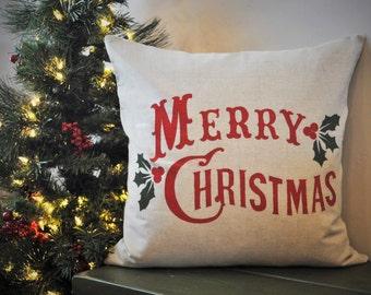 Christmas pillow cover, Merry Christmas Pillow, Christmas decor, Vintage Christmas