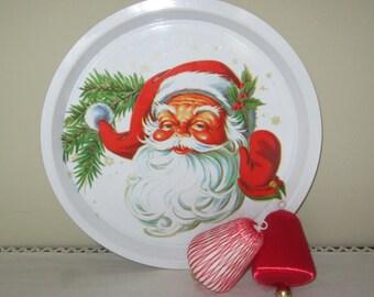 Vintage Plastic Santa Serving Tray