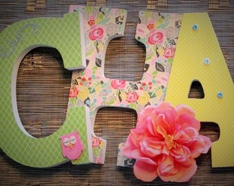 Pink Bright Green Teal Yellow and Floral Custom Handmade Wooden Letters, Nursery Name Decor, Hanging W