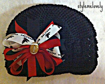 Atlanta Falcons Baby Girl Boutique Bow Crocheted Hat