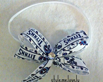 Tennessee Titans Baby Girl Boutique Bow Elastic Headband