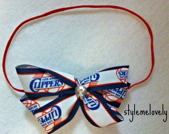 Los Angeles Clippers Baby Girl Boutique Bow Elastic Headband