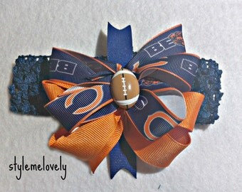 Chicago Bears Baby Girl Boutique Bow Crocheted Headband