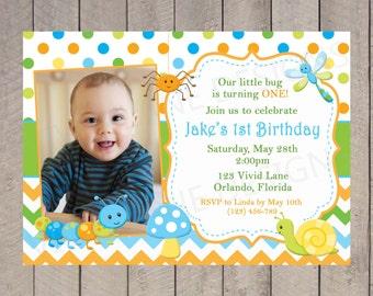 Cute Bugs Birthday Invitation, Boy Birthday, With Photo, Green, Blue, Orange, Yellow, Chevron,  2nd, 3rd, 4th, 5th - 5053