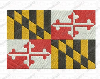 Maryland MD State Flag Embroidery Design in 4x4 and 5x7 Sizes