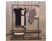 90D - Double Shelf Clothing Rack - Garment Rack - Industrial Clothes Rack - Pipe Furniture