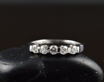 Katie - Diamond Wedding Band in White Gold, Round Brilliant Cut, 5-Stone Bar Set in Cups, Stackable, Right Hand Ring, Free Shipping