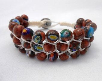 Wrap Bracelet, Beaded Bracelet, Macrame Bracelet, Waxed Linen Bracelet, Layered Bracelet, Stacked Bracelet, Boho Bracelet,