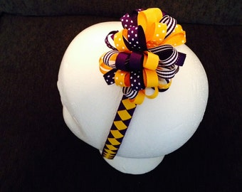 LSU or VIKINGS Purple and Yellow Gold Grosgrain Ribbon Loopy Puff Hairbow
