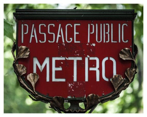 Fine art print, Fine art photography Paris Metro Sign, 5x7, 8x10, Wall art, Home Decor, red, green