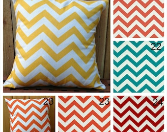 Chevron Decorative Pillow Covers Couch Pillow Covers Sofa Pillow Covers Zig Zag Accent Zippered Pillow Coral Pillow Turquoise Aqua Pillow