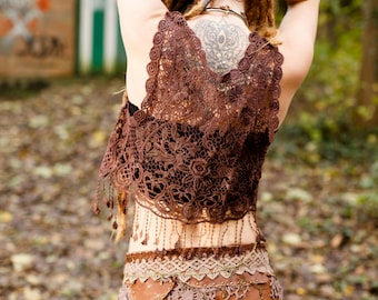 hippie brown crochet bolero