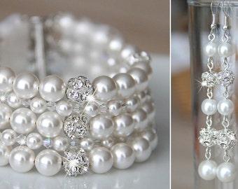 Bridal Jewelry Set Bracelet and Earrings, Bridal Bracelet and Bridal Earrings, Long Pearl Earrings set, Wedding jewelry Set, art e23-b16