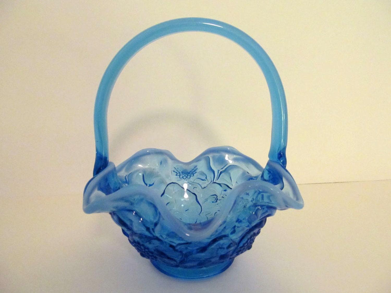 Vintage Fenton Water Lily Pattern Blue Glass Basket Indiana