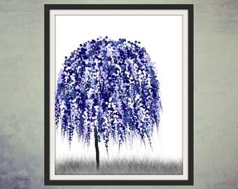 Digital Art, Printable Art, Wall Art, Digital Print, Blue Willow Tree