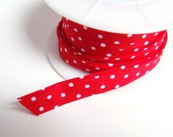 Red Polka Dots Bias // 1m // 1 cm width Cotton // Supplies Binding