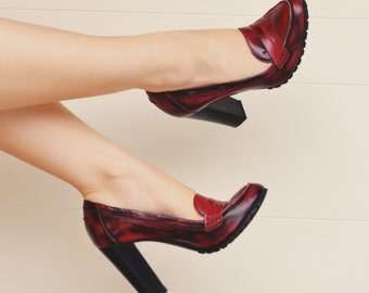 Red Acid Leather High Heel Loafers