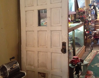 Antique Exterior  Door with  Window and Original Hardware
