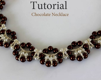 PDF tutorial beaded chocolate necklace_seed beads_pearls_beadweaving
